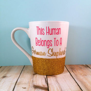 Glitter Mug // This Human Belongs To... // Coffee Cup // Personalized Glitter Mug // Gold Glitter // Dog Lover // Glitter