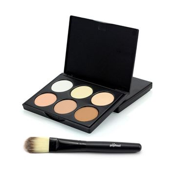 women contour palette makyaj maquiagem base makeup foundation Bronzers & Highlighters Concealer Cosmetic Face With Brush 1Set