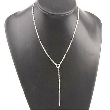 Silver Bar and Open Circle Lariat Necklace