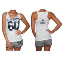 2 PIECE SET: Womens Pink Victoria's Secret NFL Dallas Cowboys #60 Sports Tank Top and Shorts Set - White & Grey (Size: M)