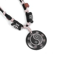 Yin and Yang Charm Pendant on Handmade Leather Necklace with Bead and Silver Accents