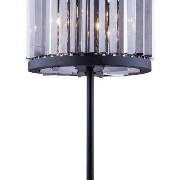 """1203 Chelsea Collection Table Lamp D:18"""" H:32"""" Lt:4 Mocha Brown Finish (Royal Cut Silver Shade Crystals)"""