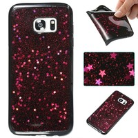Urberry Galaxy S7 Edge Case, Bling Sparkling Starry Glitter Case for Samsung Galaxy S7 Edge with a Free Screen Protector (Red)