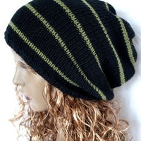 Knitted Oversized Slouchy Beanie Khaki and Black