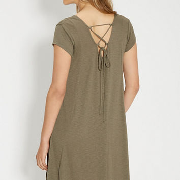 t-shirt dress with lace up back in olive green | maurices