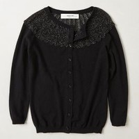 Fanned Shimmer Cardigan by Sparrow Black S Sweaters