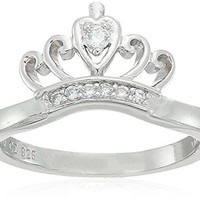 Sterling Silver Cubic Zirconia Crown Ring