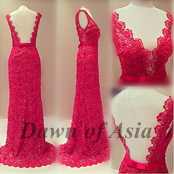 Red prom dress - lace prom dress / long prom dress 2014 / red formal dress / long formal dress / lace evening dress / red lace dress 2014