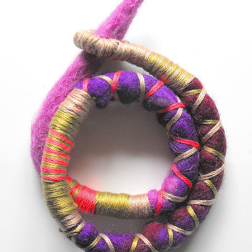 Felted Art Atebas Felt Dreadlock Dread Fall Hair Tie Dread Wrap Soft Felt Dreadlock Accessories