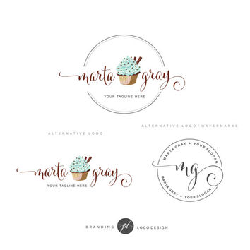 Cupcake logo design, Bakery Branding Kit, Logo Set, Blog logo, Watermark, Cakery Marketing, Logo Design Stamp, Dessert Logo Logo package, 64