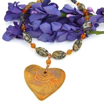 Horse Heart Petroglyph Handmade Necklace Jasper Carnelian Copper OOAK | ShadowDogDesigns - Jewelry on ArtFire