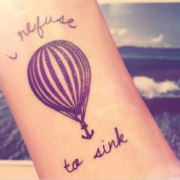 2pcs Hot Air Balloon I Refuse To Sink Anchor Tattoo   Inknart Temporary Tattoo   Quote Body Sticker Fake Tattoo Anchor Love Tattoo Small