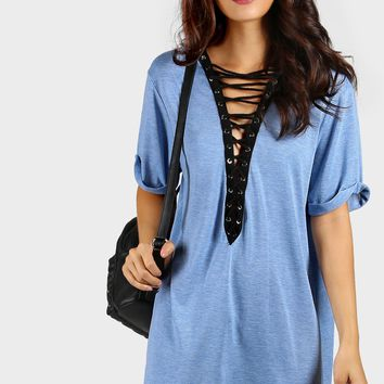 Contrast Lace Up Plunging Neck Cuffed Casual Dresses