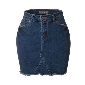 LE3NO Womens Casual Mid Rise Vintage Distressed Frayed Denim Skirt