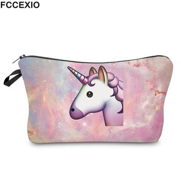 FCCEXIO New 3D Print Makeup Bags With Unicorn Pattern Cute Cosmetics Pouchs For Travel Ladies Pouch Women Cosmetic Bag 02