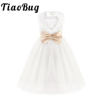 TiaoBug White Lace Flower Girl Dresses Kids Pageant Birthday Formal Party Dress Bowknot First Communion Dress Prom Gown 2-12Y