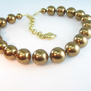 Bronze Pearl Choker Signed Carolee Bold Faux Single Strand Vintage Statement Necklace Heart Charm