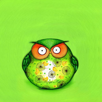 Spring Green Funny OWL NEW Painting Print by Annya by annya127