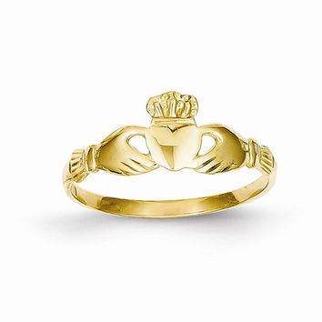 14kt ladies yellow gold claddagh ring