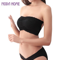 Women Brassiere Sexy Lace Bra Sexy Prevent Wrapped Chest Padded Underwear For Female Strapless Stretch Boob Tube Top