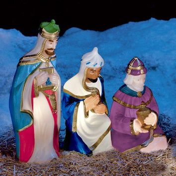 3 Wisemen Lighted, Light Up Blow Mold Outdoor Yard Christmas Decoration Plastic