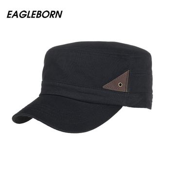 [Eagleborn] 2017 New 100% Cotton Classic Men Women Vintage Army Hat Cadet Military Patrol Cap Gorras Dad Hats