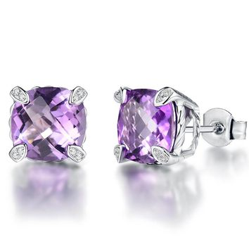 5.2ct Natural Amethyst 925 Sterling Silver Earrings for Women Silver 925 Diamond Jewelry Women Stud Earrings