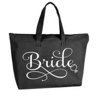 Bride Large Black Tote Bag with zipper closure - Bride to Be, Newlywed, Bridal, Wedding, Shower, Bachelorette Party Gift
