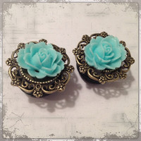 FAKE plugs Antique bronze Teal  Rose  Custom by Lovekillsboutique