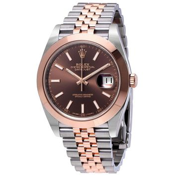Rolex Datejust 41 Chocolate Brown Dial 18K Rose Gold Mens Watch 126301CHSJ