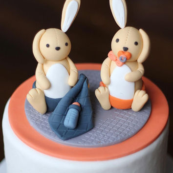 Fondant Cake Topper - Over 35 Pieces Whimsical 3D Rabbit Cake Topper Fondant Figure - Perfectly Matches Our Cupcake Toppers