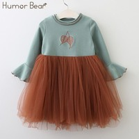 Girls Spring and Autumn Dress Horn Sleeve Design Kids Dress Princess Dresses
