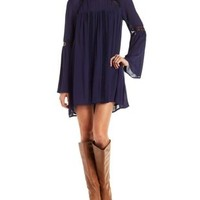 Navy Blue Gauzy Shift Dress with Crochet Trim by Charlotte Russe