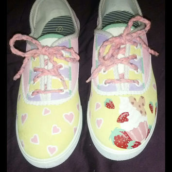 Fairy kei lolita pastel with strawberries and cupcake handpainted shoes 8 1/2 size PRICE LOWERED