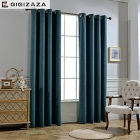 GIGIZAZA Rayon cotton black out  stripe fabric curtain for livingroom ivory custom size shade american style for bedroom