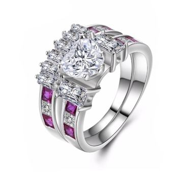 2PC Wedding Anniversary Ring Set with Love Heart Shape Cubic Zirconia  Engagement Rings