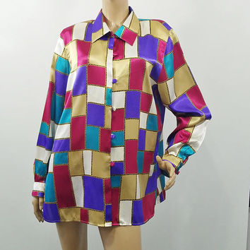 Christie and Jill Blouse Chain Linked Color Blocks Loud Mod Silky Vintage Long Sleeve Fashion Top Size XL