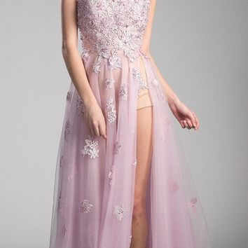 Dusty Rose Appliqued Prom Gown with Spaghetti Strap