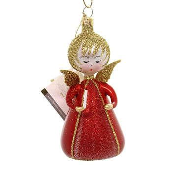 De Carlini LITTLE ANGEL WITH CANDLE Glass Christmas Ornament Heavenly An149 Red