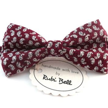 Bow Tie - red bow tie - wedding bow tie - red bow tie with white paisley pattern - man bow tie - men bow tie - groomsmen bow tie