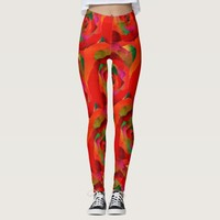 Glamorous red orange abstract rose leggings