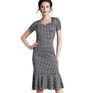 Chic Mermaid Summer Houndstooth Vintage office Lady Casual Dress Sweat-heart Neck bodycon Retro formal Work Fit Wiggle Dress b42