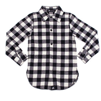 White/Black' Extendo Slim-Fit Cotton Flannel Shirt
