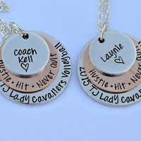 Hustle Hit Never Quit Volleyball Necklace - Convert to Softball Necklace