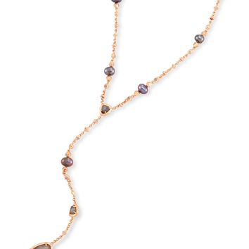 Lucielle Rose Gold Y Necklace in Gray | Kendra Scott
