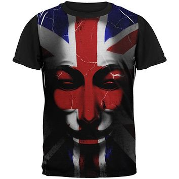 Guy Fawkes Day Union Jack Distressed British Flag Mask All Over Mens Black Back T Shirt
