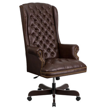 Flash Furniture High Back Traditional Tufted Brown Leather Executive Swivel Office Chair [CI-360-BRN-GG]