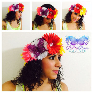 Daisies Flower crown  Coachella rave costume, rave attire, edc, rave accessory, edm, rave outfit  purple BUTTERFLY