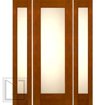"Prehung 2-1/4"" Thick Mahogany Door Sidelites Low-E Matte Glass"