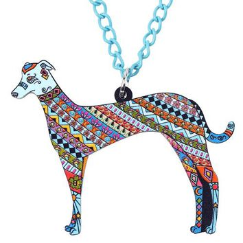 Acrylic Greyhound DOG Necklace Cartoon Pendant Chain Collar Choker Pendant  Animal Fashion Jewelry For Women Girs New